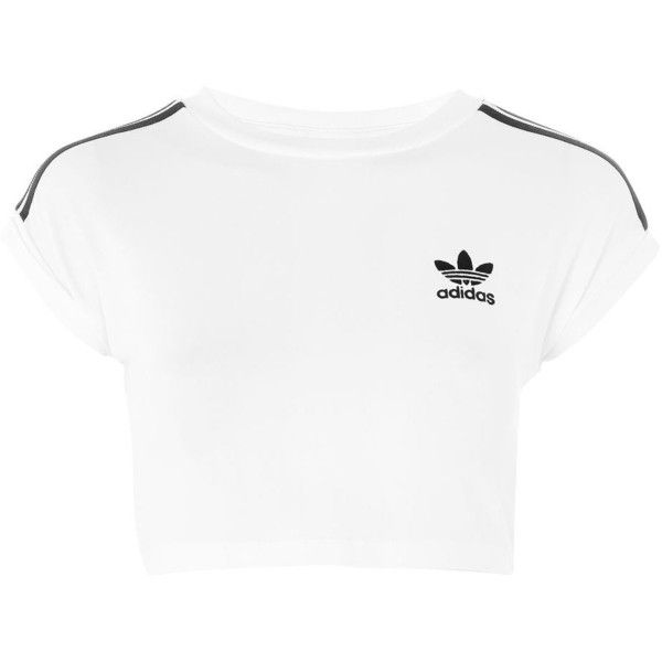 fb8b5d5b334 Three Stripe Crop Top by Adidas Originals ($48) ❤ liked on Polyvore  featuring tops, crop top, adidas, shirts, white, white striped shirt,  stripe shirt, ...