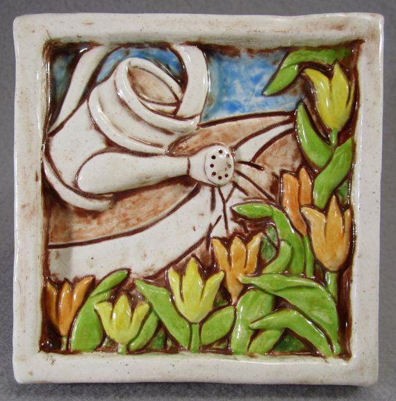 Caramic Tile Tulip Garden art tile  multi by gianar on Etsy, $22.00