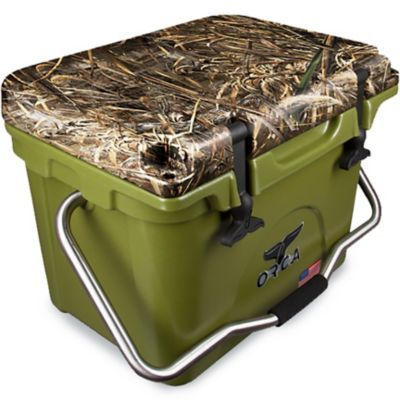 Orca 20 Qt Ice Retention Cooler Army Green With Camo Lid Doesn T Leak Keeps Cold For Up To 10 Days Camping Cooking Supplies Cooler Orca Cooler