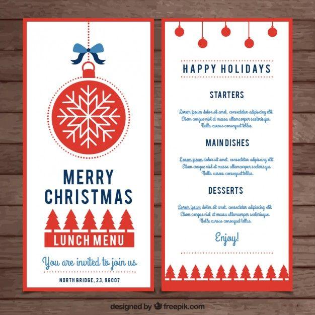 Plantilla bonita de menú de navidad Vector Gratis X-MAS - lunch menu template free
