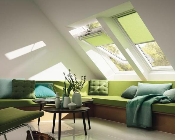 rollos f r velux dachfenster die gr ne farbe im fenster dient als der abdeckung so dass das. Black Bedroom Furniture Sets. Home Design Ideas