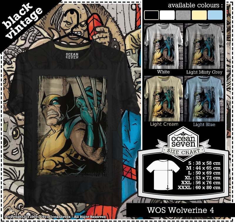 Kaos Wolverine XMen Black Vintage 1 Superman t shirt, T