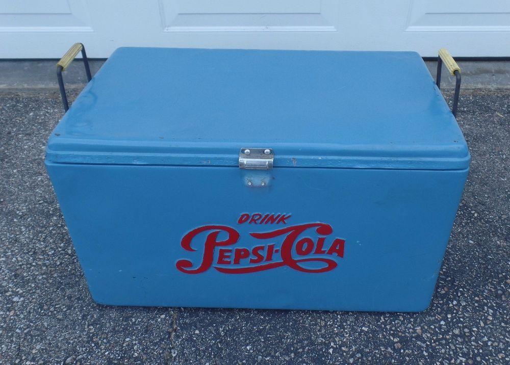 Vintage Nostalgic Metal Blue Pepsi Cola Travel Cooler | eBay ...