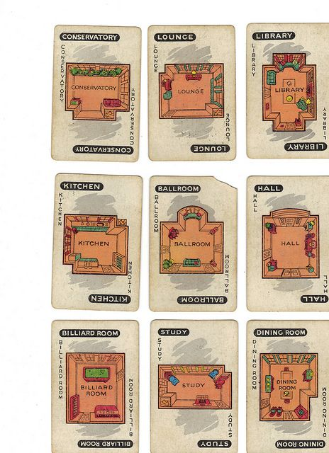 photo regarding Printable Clue Board Game Cards titled Typical Clue match playing cards (rooms) Printables Clue game titles
