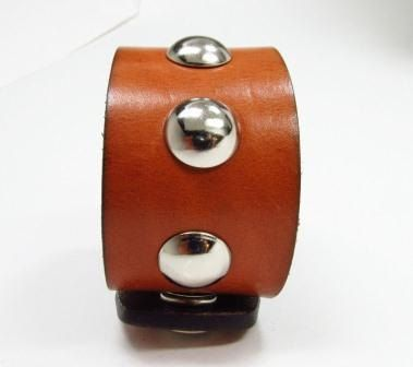 Cognac brown leather cuff bracelet and chrome by AccessoriesbyRMD