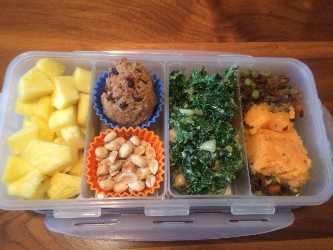 Pineapple, Peanut Butter Chip-Pea Cookies, Unsalted Peanuts, Chickpea Kale Avocado Salad, Sweet Potato Lentil Shepherd's Pie