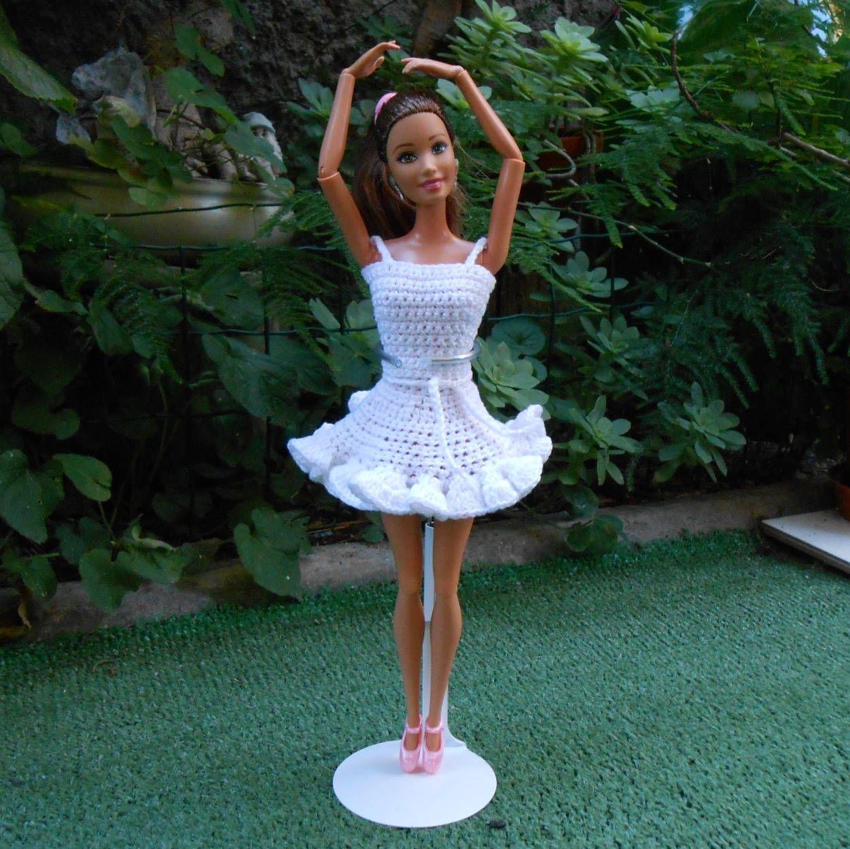 Barbie Clothes Crochet Barbie Clothes White Barbie Skirt Top Pink