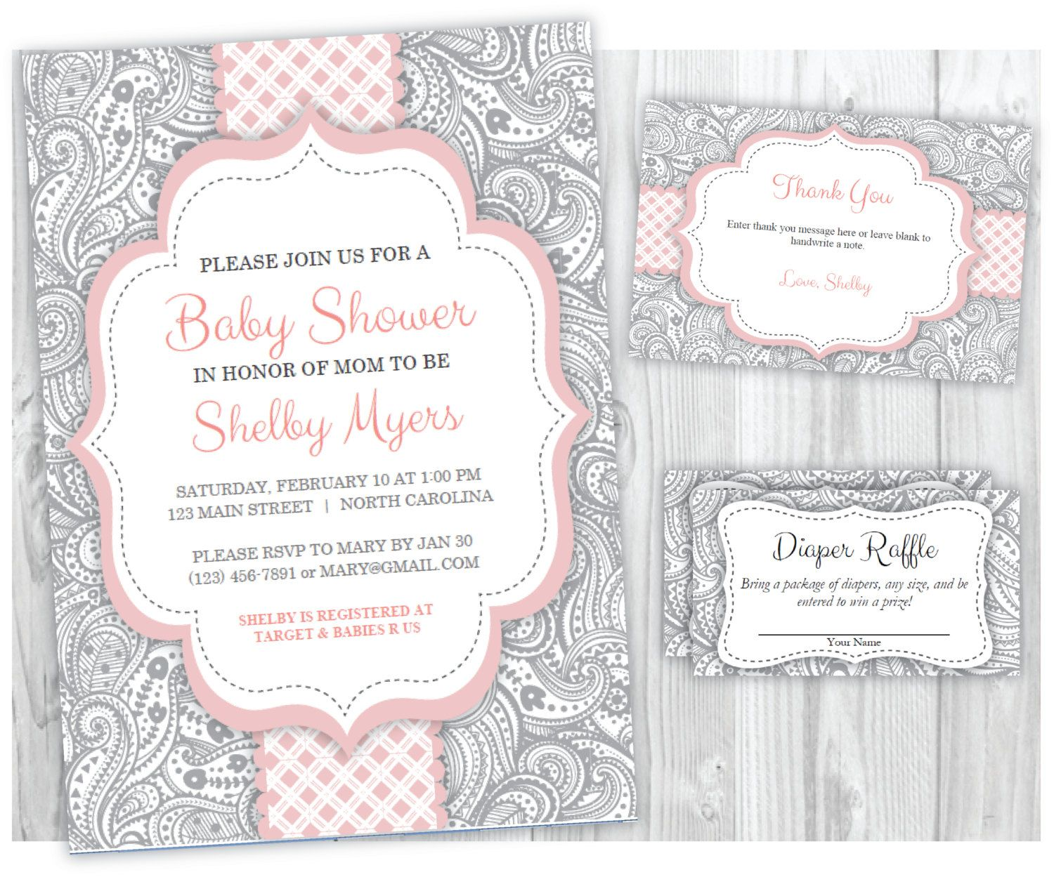 Babyshowerinvitation pink and gray girl baby shower invitation thank babyshowerinvitation pink and gray girl baby shower invitation thank you card and diaper raffle ticket filmwisefo