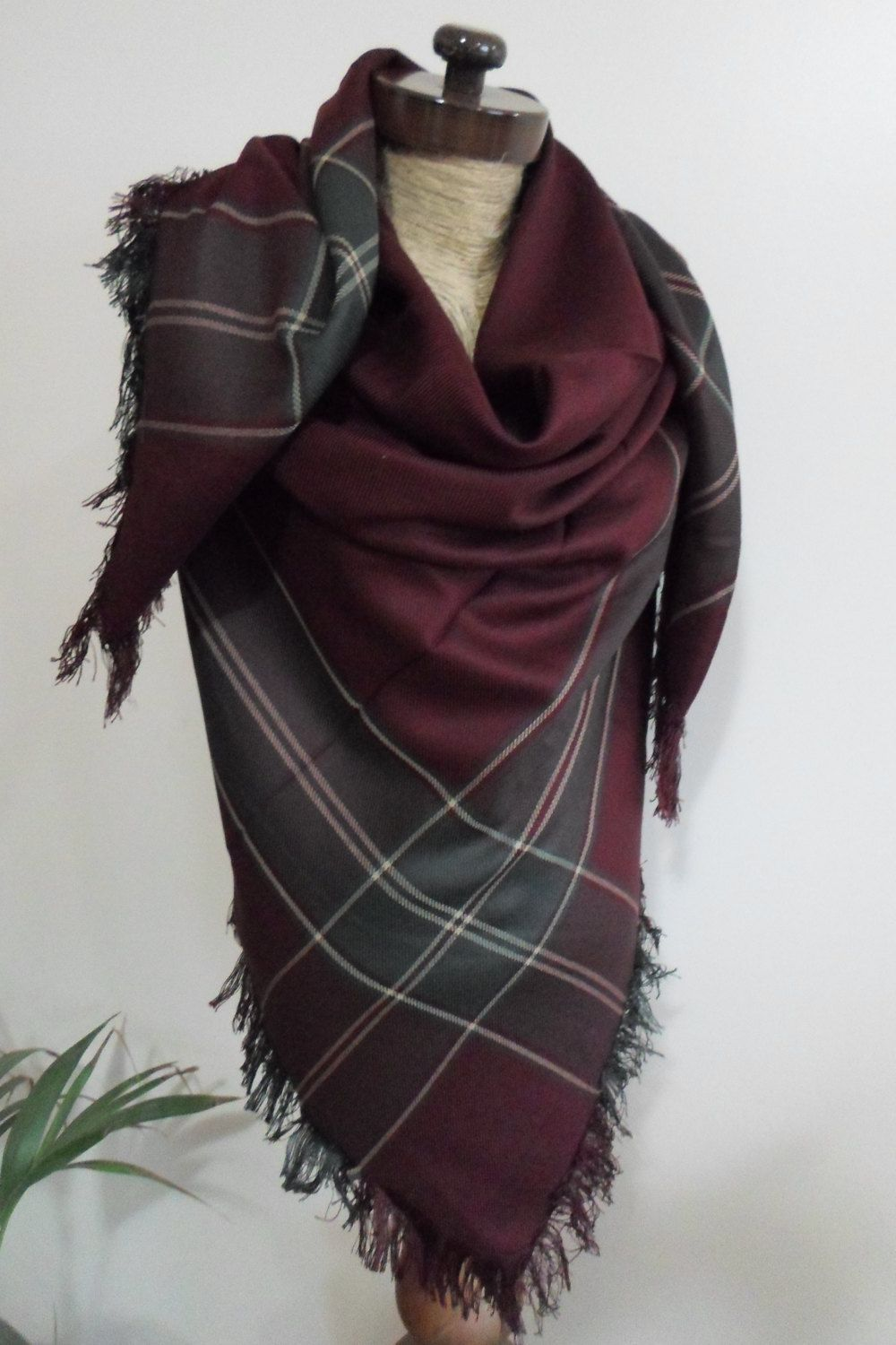 7a11e7cae Burgundy Plaid Blanket scarf, Plaid scarf, Winter fashion, blanket scarves,  oversized, For Men, For Her, blanket, - pinned by pin4etsy.com