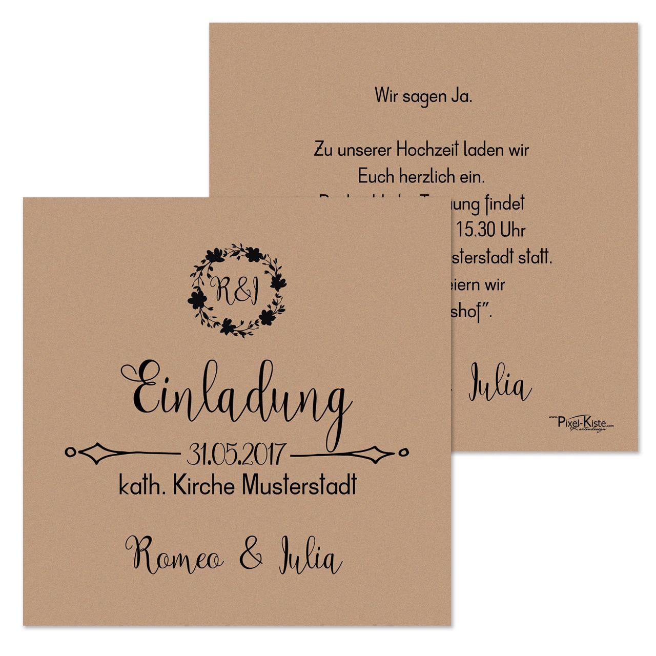 Quadratische Einladungen Hochzeit Vintage Style