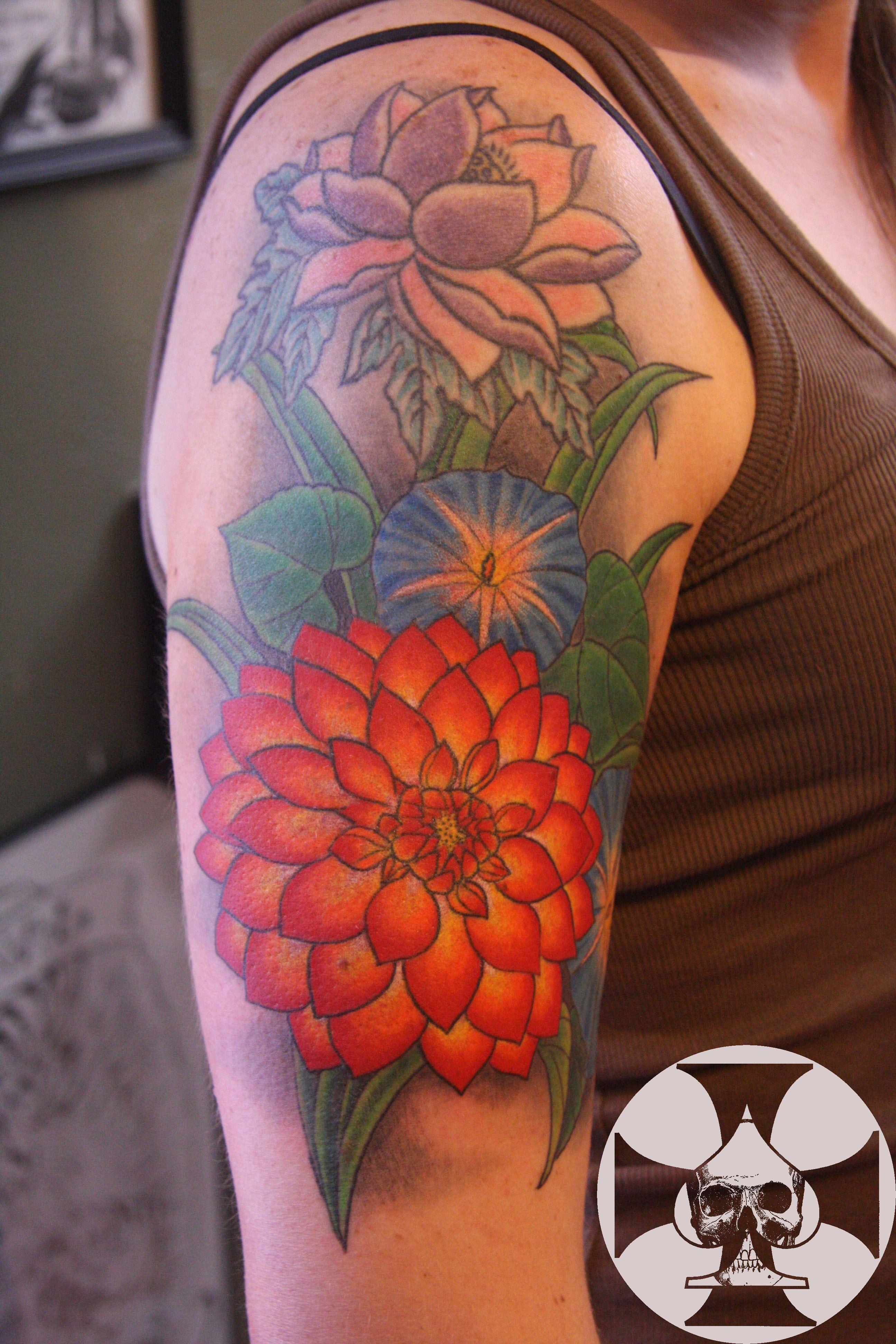 Multiple Tattoo Sleeve: Multiple Flower Half Sleeve
