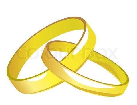 Grafiken Von Zwei Miteinander Verbundene Goldene Hochzeit Ringe