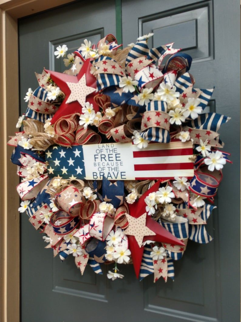Patriotic Wreath, Memorial Day Wreath, Veterans Day Gift, Patriotic Decor, 4th of July, Patriotic Decor, Memorial Wreath, 4th of July Decor
