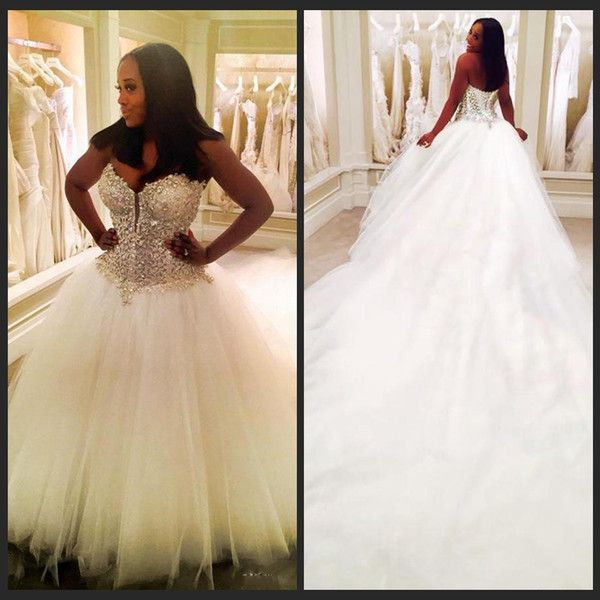 Beading Dubai Nigerian Lace 3 Meters Wedding Dresses Custom Made Plus Size Open Back Tulle Puffy Bridal Gowns Arabic Dress As Low 110 46