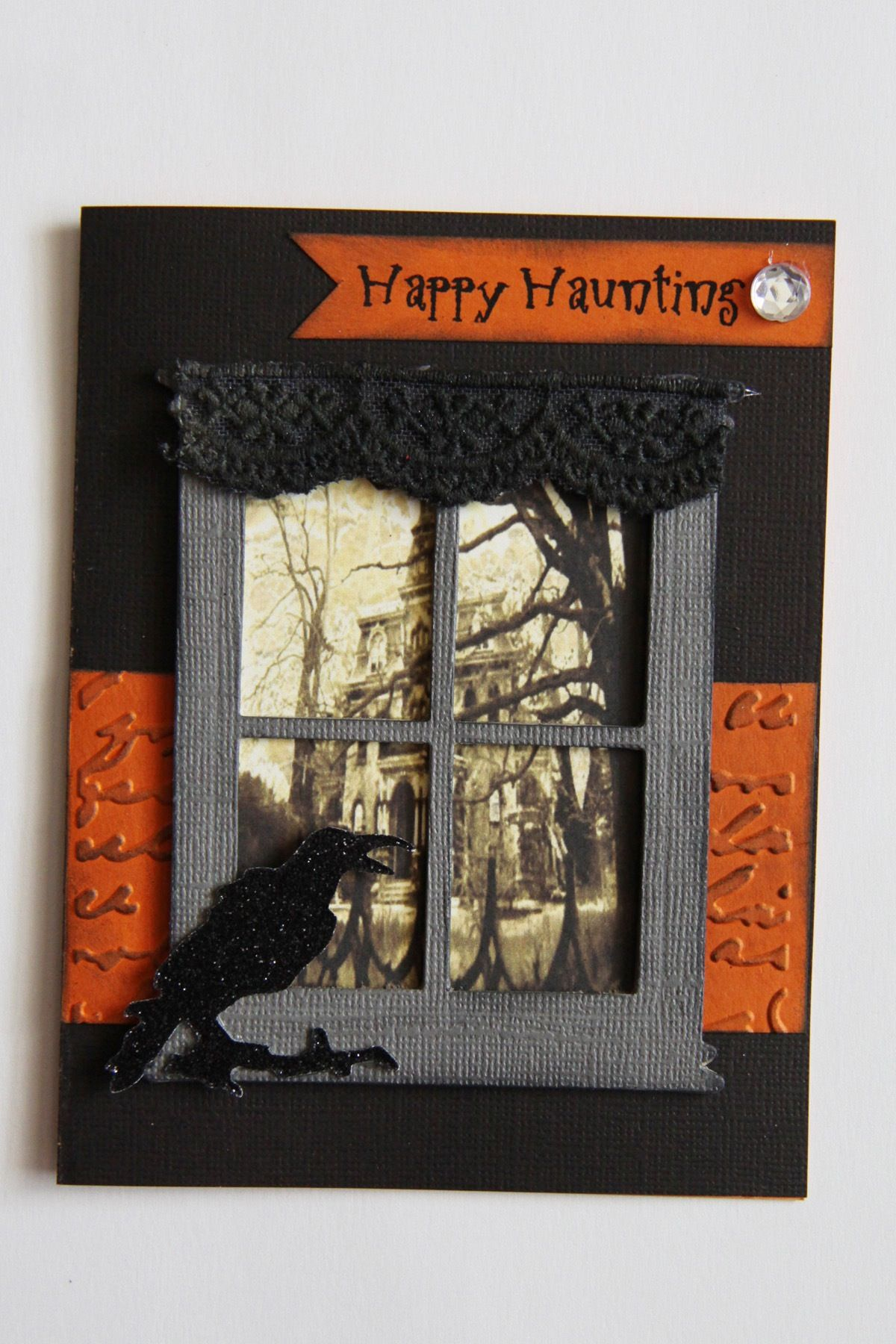 sizzix tim holtz window die happy haunting halloween card haunted house black raven lace. Black Bedroom Furniture Sets. Home Design Ideas