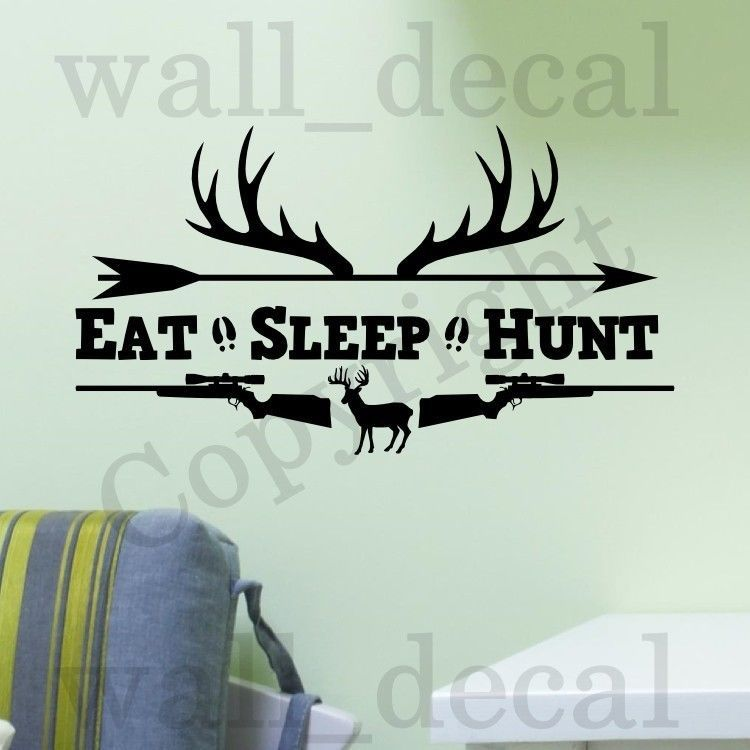 Elegant Eat Sleep Hunt Rifles Racks Deer Bow Hunting Wall Decal Vinyl Sticker Quote Part 13