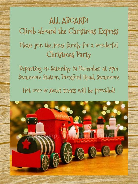 Digital Printable North Pole Christmas Express by AmoreInvitations - microsoft word greeting card template