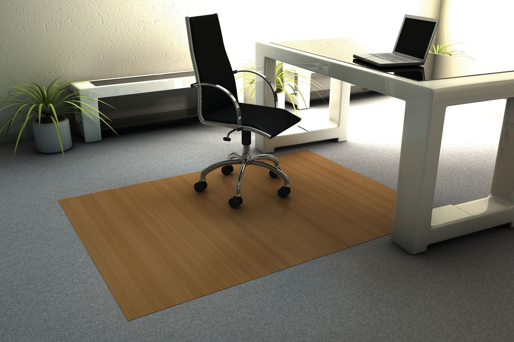 Bamboo Chair Mat 46 x 60 Natural Lies flat right out of