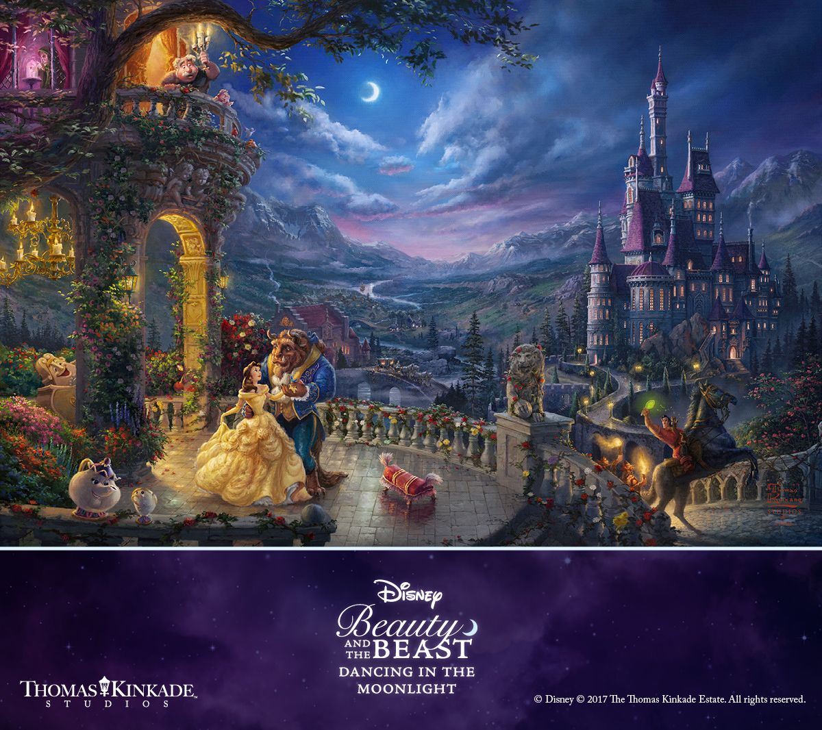 Beauty and The Beast Dancing in The ... The Disney Collection Thomas Kinkade