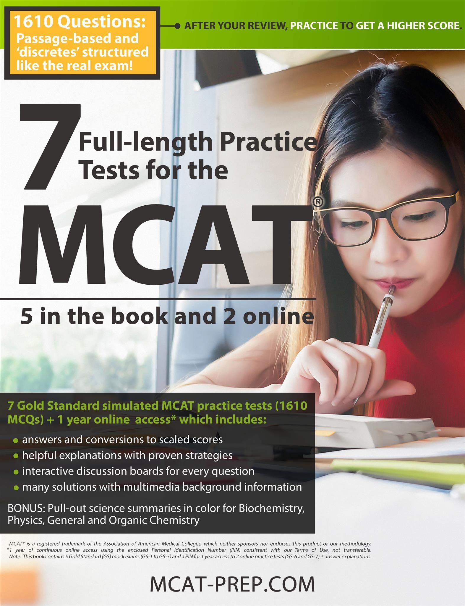 Gold Standard MCAT Guide 7 exams MCAT practice tests book