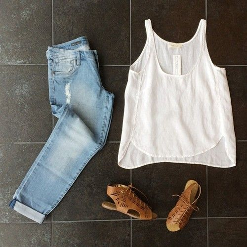 Layout my outfit. White tank + light wash denim + gladiator sandals