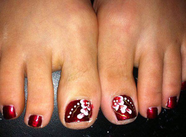 Most Beautiful And Stylish Flower Toe Nail Art Design Ideas - 30+ Toe Nail Designs Flower Toe Nails, Toe Nail Designs And Toe