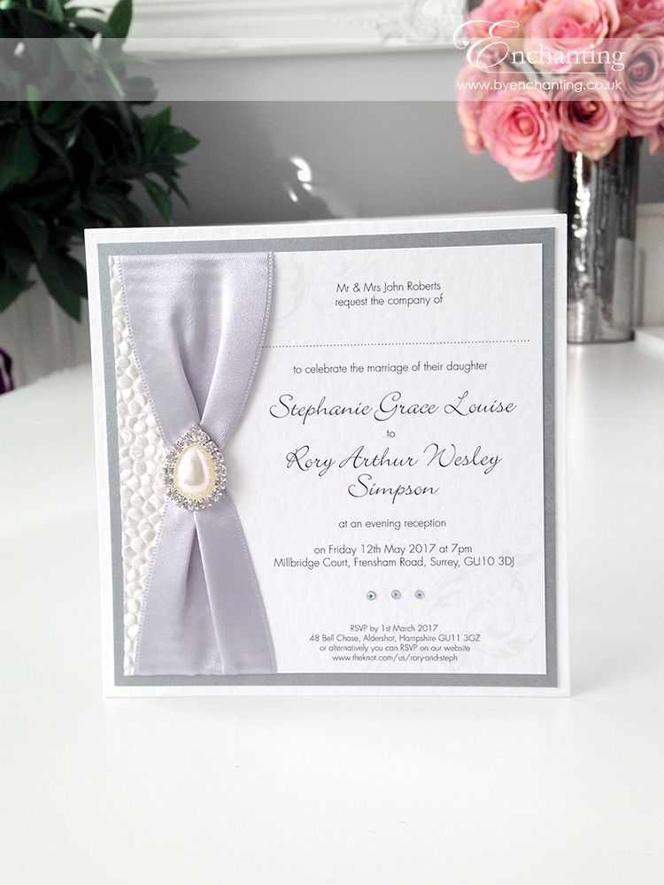 Grey Wedding Invitations The Ariel Collection Luxury Flat Postcard Invitation Featuring White Pebble