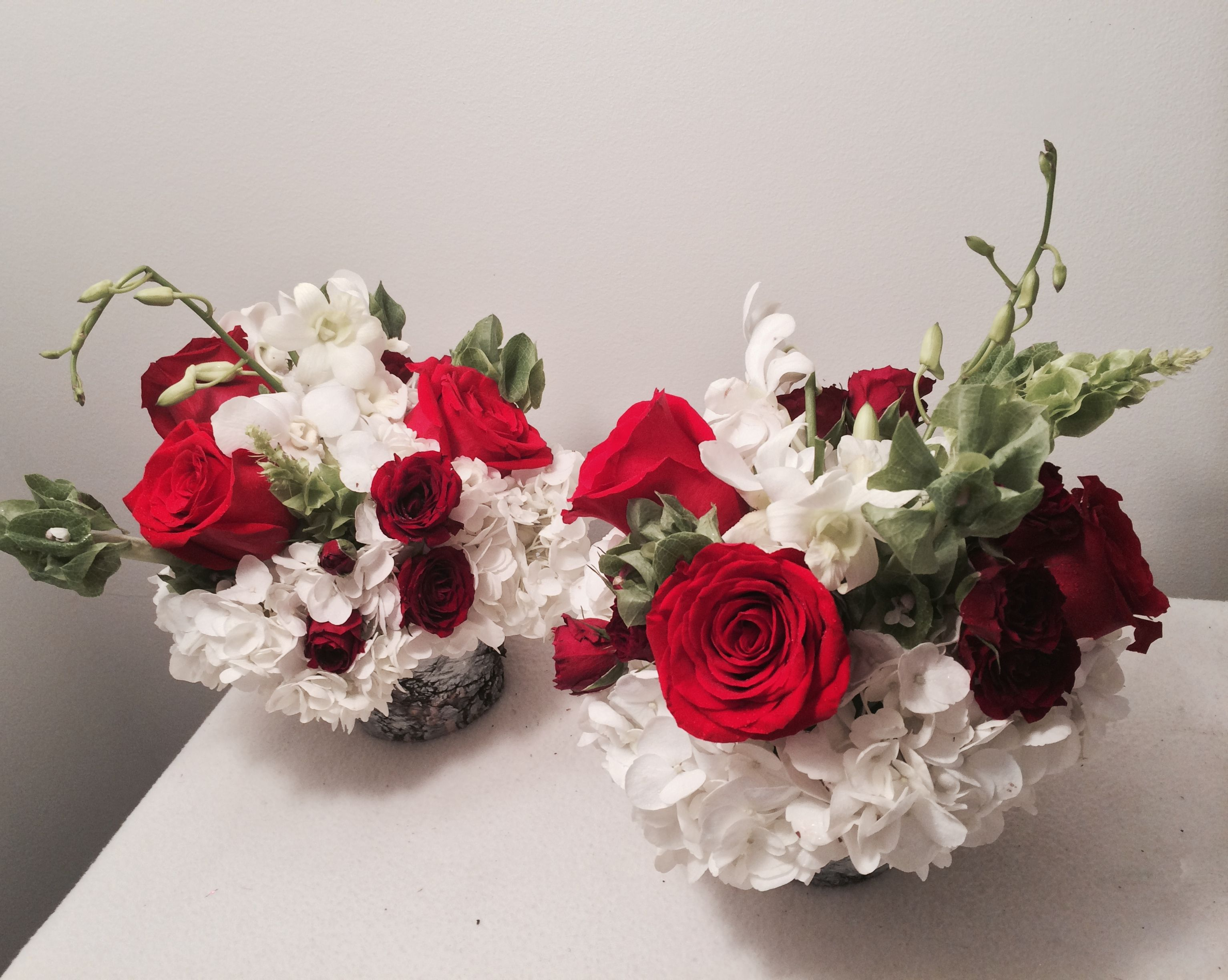 Blooms to celebrate the beauty of Christmas, sitting pretty in birch pots. Floral Sentiment: Bells of Ireland (Good Luck), Hydrangea (Pride), Orchids (Beauty + Friendship), Roses (Love),