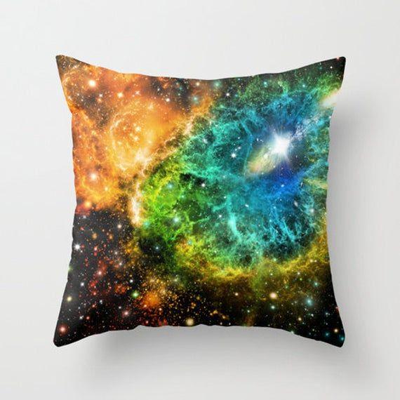 Space Pillow Case Nebula Pillow Eye Space Pillow Cover Space Throw Pillow Galaxy Throw Pillow Space Abstract Blue Throw Pillow Orange Pillow