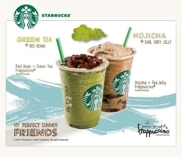 Starbucks Red Bean Green Tea Frappuccino And Hojicha Tea Jelly Frappuccino Starbucks Postres