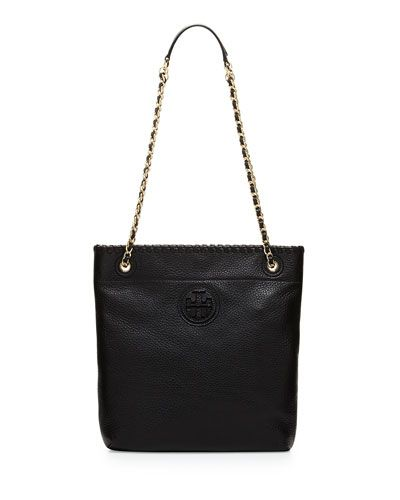 cd8fd52fc2ce Tory Burch Marion Black Leather Book Bag  395.00