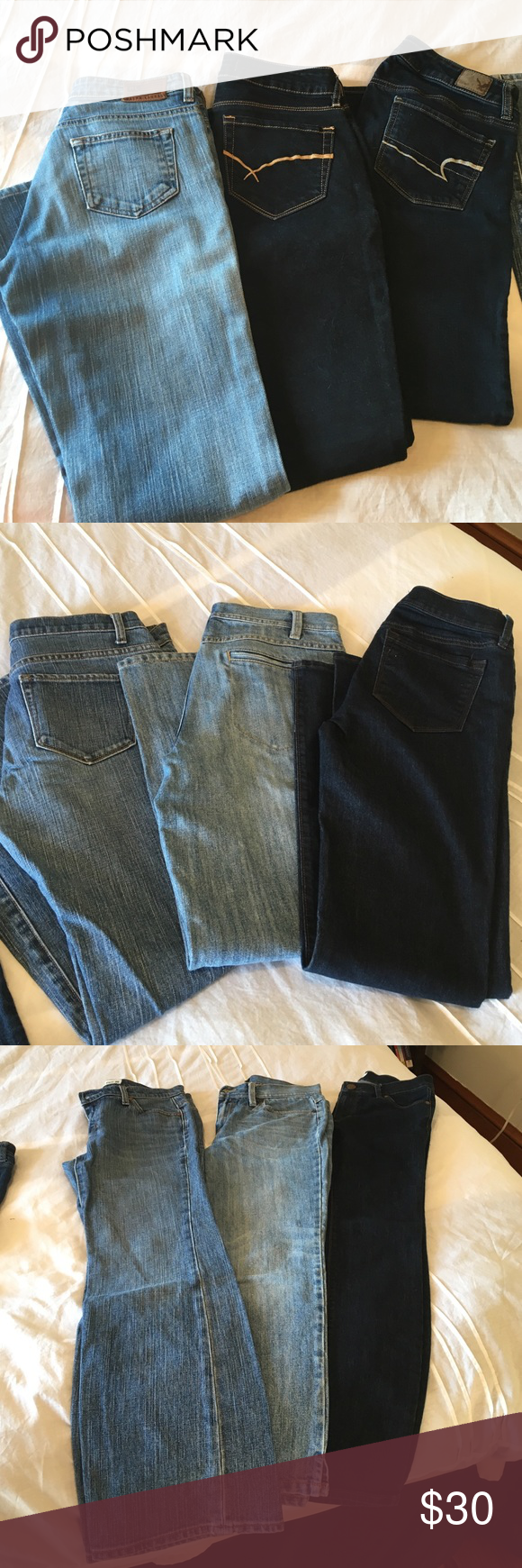 6 Pairs of Name Brand Jeans! Lightly worn, all 6 jeans included in price!  Ralph Lauren light wash - size 2.  American Eagle dark stretch - size 4 short. Bullhead dark skinny - size 5. Gap loose boot cut light wash - size 4. Talbots light wash zipper pocket - size 6 petite. LOFT dark rinse light flare size 26 petite. American Eagle Outfitters Jeans