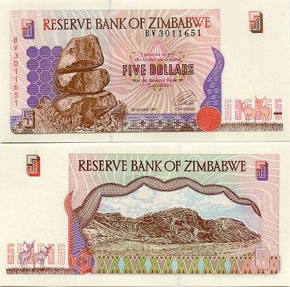 Zimbabwe 5 Dollars 1997 Re Matapos Rocks Terraced Hills