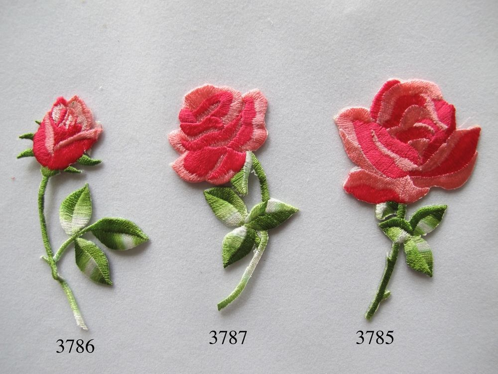 Pink red rose flower embroidery iron on applique patch