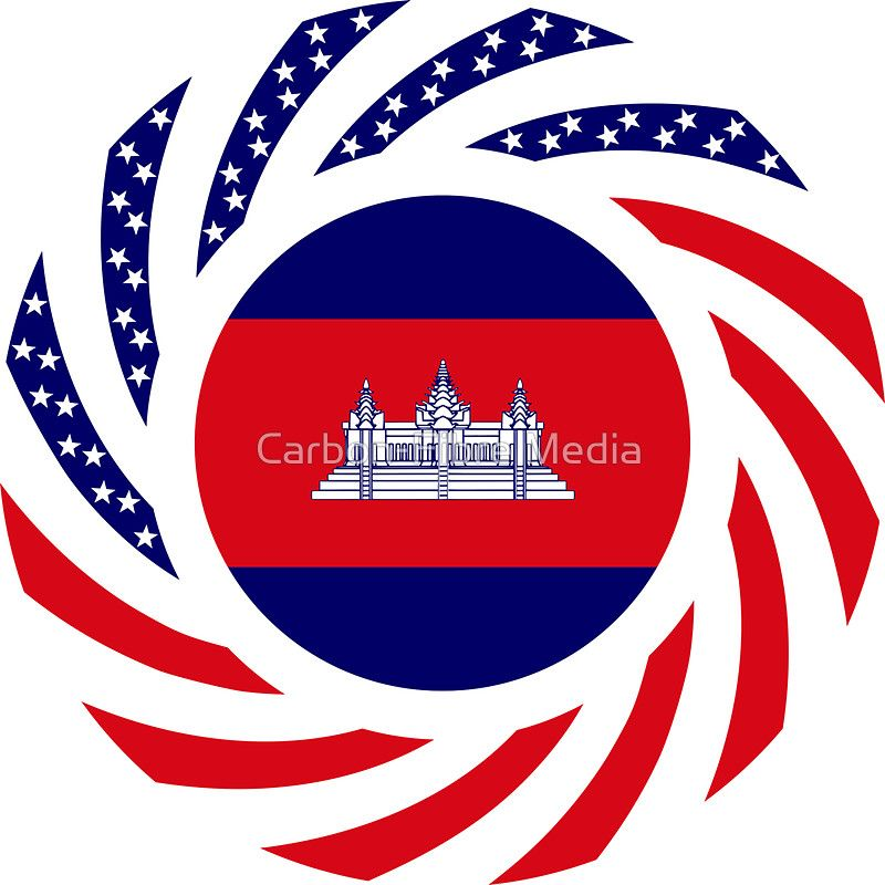 Cambodian american multinational patriot flag sticker by carbon fibre media