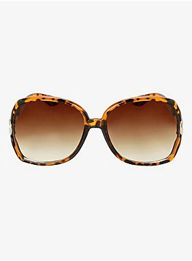You definitely hit a home run with these stunners. They're full of chicness. Twisted silver tone metal arms make this look stand out while a tortoiseshell design gives them modern appeal. Have fun rocking these beauties from sunup to sundown.<ul><li> 100% UV protection</li><li>Man-made materials</li><li>Imported</li></ul>