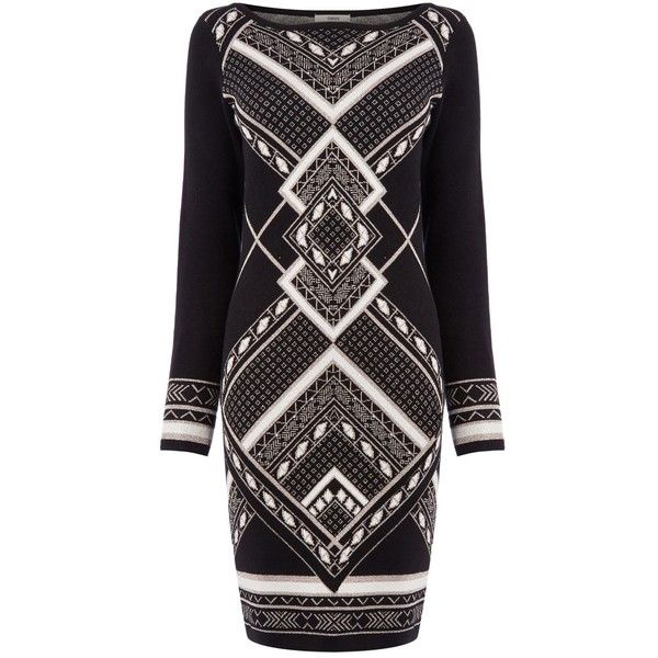 Oasis Aztec Sparkle Dress 70 Liked On Polyvore Featuring Dresses Black Multi Clearance Black S Sparkle Dress Black Sparkly Dress Sparkly Cocktail Dress