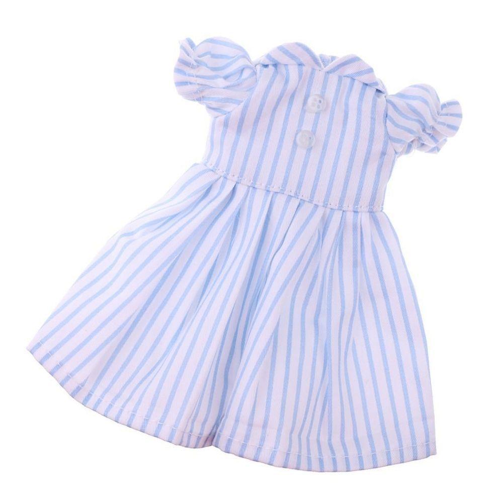 puppen kleidung kleid sommerkleid hellblau gestreift für 25