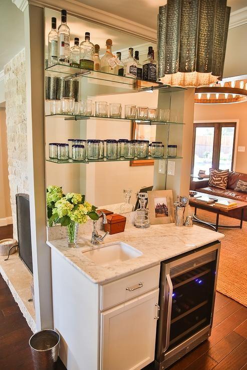 Living Room With Wet Bar Mirrored Backsplash Transitional Living Room Glass Shelves Kitchen Wet Bar Glass Shelves Ikea