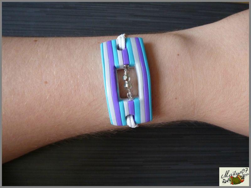 bracelet à rayures en pâte polymère par Maïlys07.