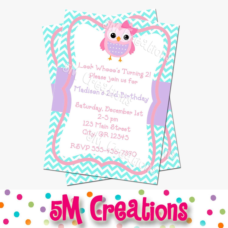 OWL Birthday Party Invitation - Owl Printable Invitation- Chevron ...