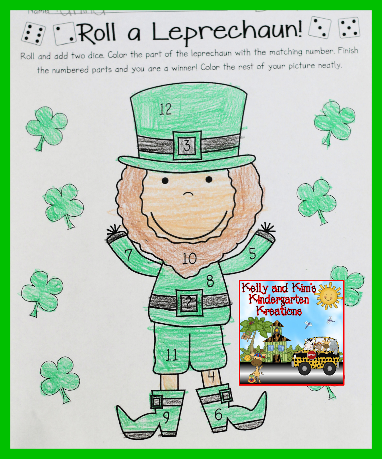 Shamrock Centers Patrick S Day Themed Roll A Leprechaun Addition Dice Game
