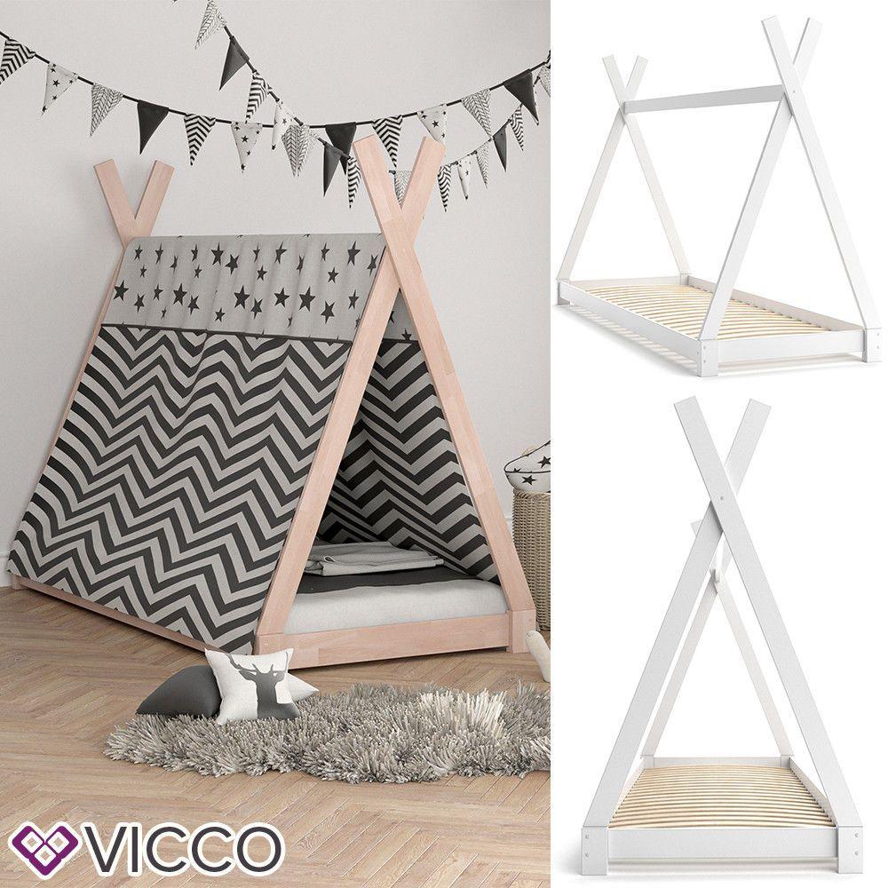 Vicco Kinder Bett 90x200cm Tipi Indianer Zelt Kinderhaus Massivholz