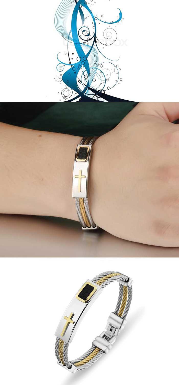 Christmas gift for women gold stainless steel cross bracelet