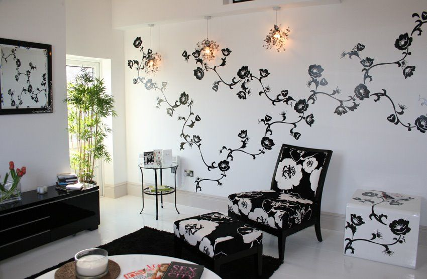 Design Ikea Wall Stickers In Project Monochrome Living Room Monochrome Living Room Living Room Wall Designs Ikea Wall