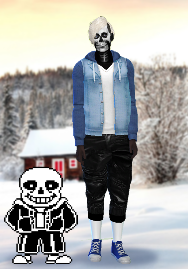 undertale sims 4 sans skull makeup pants the shirt jacket cc was