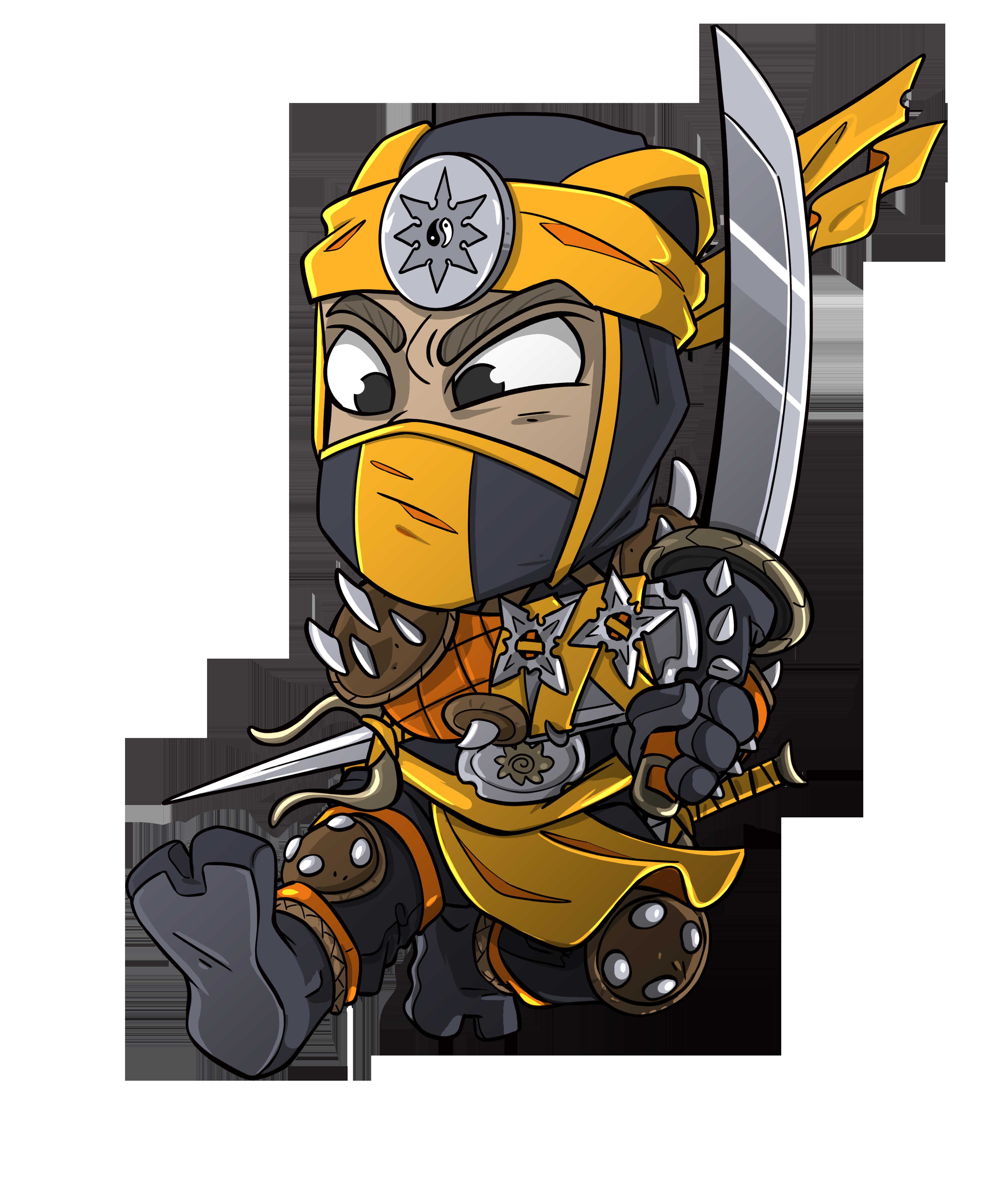 Funny Yellow Ninja Chibi Japanese Martial Arts