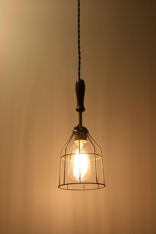 Amazon.com: Wood Handle Industrial Hanging Pendant Light with ...