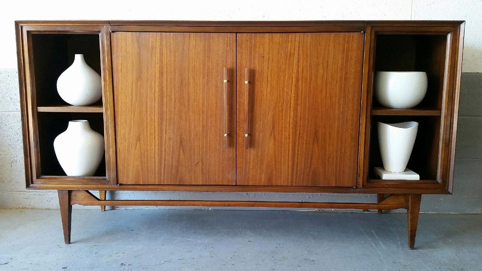 Mid Century Credenza Repurposed From A Vintage Stereo Cabinet.