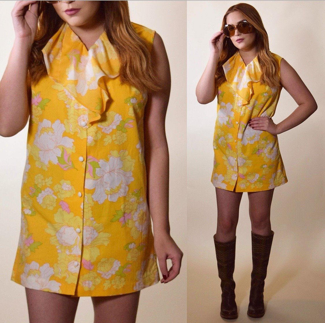 b450ea0b4c7 Classic summer Yellow white floral patterned mini dress! Authentic ...